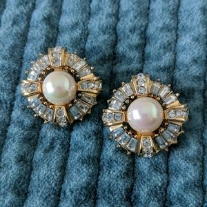 Vintage Authentic Dior Earrings crystals & pearl